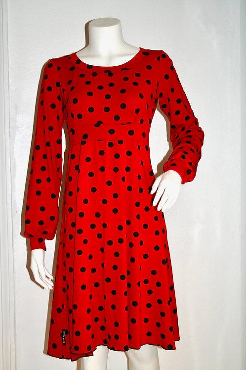 Betty kjole i rød med bomber