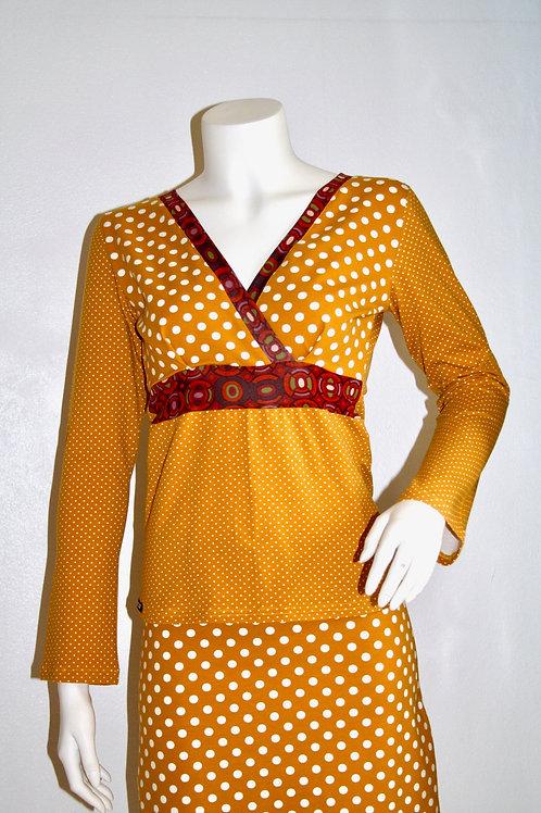 Zitta bluse i gul med prikker