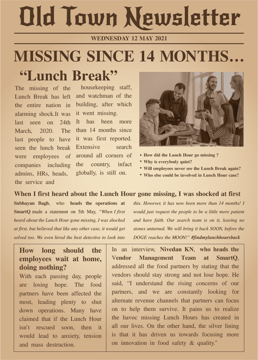 Newsletter on Lunch breaks at workplace went missing