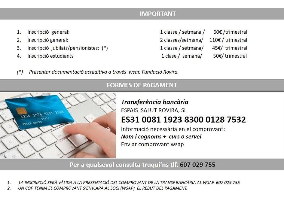 condiciiones pago clases fundacion. info