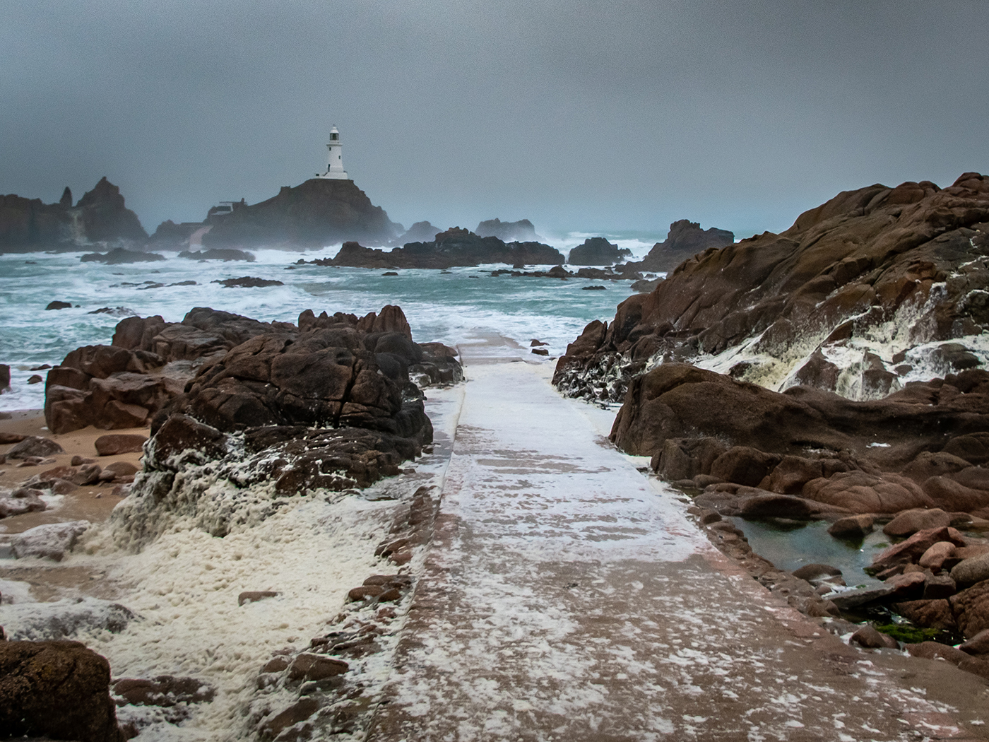 La Corbiere Lighthouse vs Storm Gareth