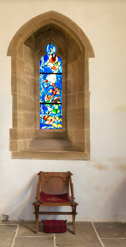 All Saints Church, Tudeley, Window and Stool.