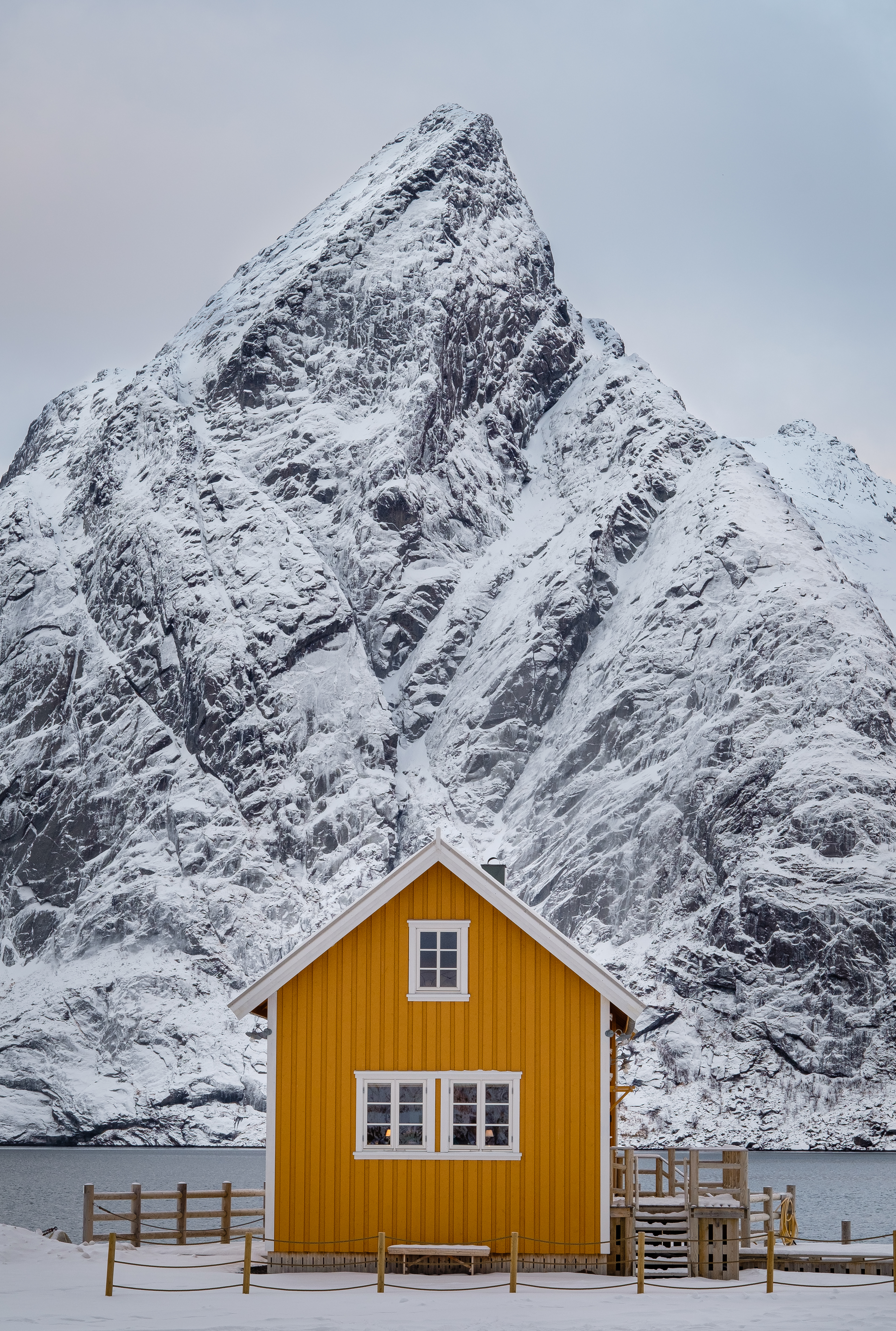 Yellow House and Mountain