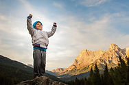 a child conquers the summit, loose his p