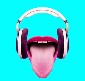 Listen to funny music. Headphones and cr