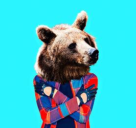 Hipster Bear. Minimal collage art..jpg