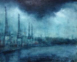 Mechanical Giraffes(Bristol Docks) Oil and Spray paint on Panel 50cmx40cm