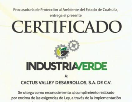 Certifican a Cactus Valley como Empresa Verde