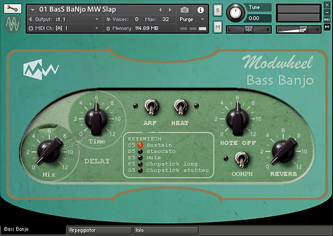 Bass Banjo, Patch 1, Modwheel