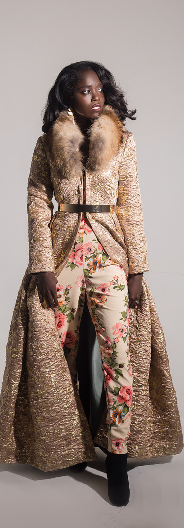 Pleated Brocade Overcoat with Fur Collar
