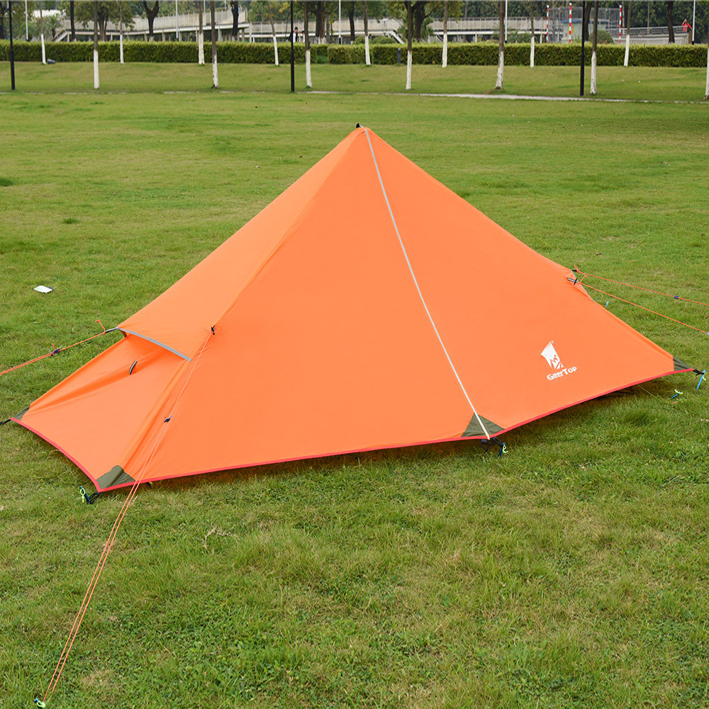 newest 071b5 047a1 GeerTop PyramidⅠ1-Person 3-Season 20D Backpacking Tent For Camping