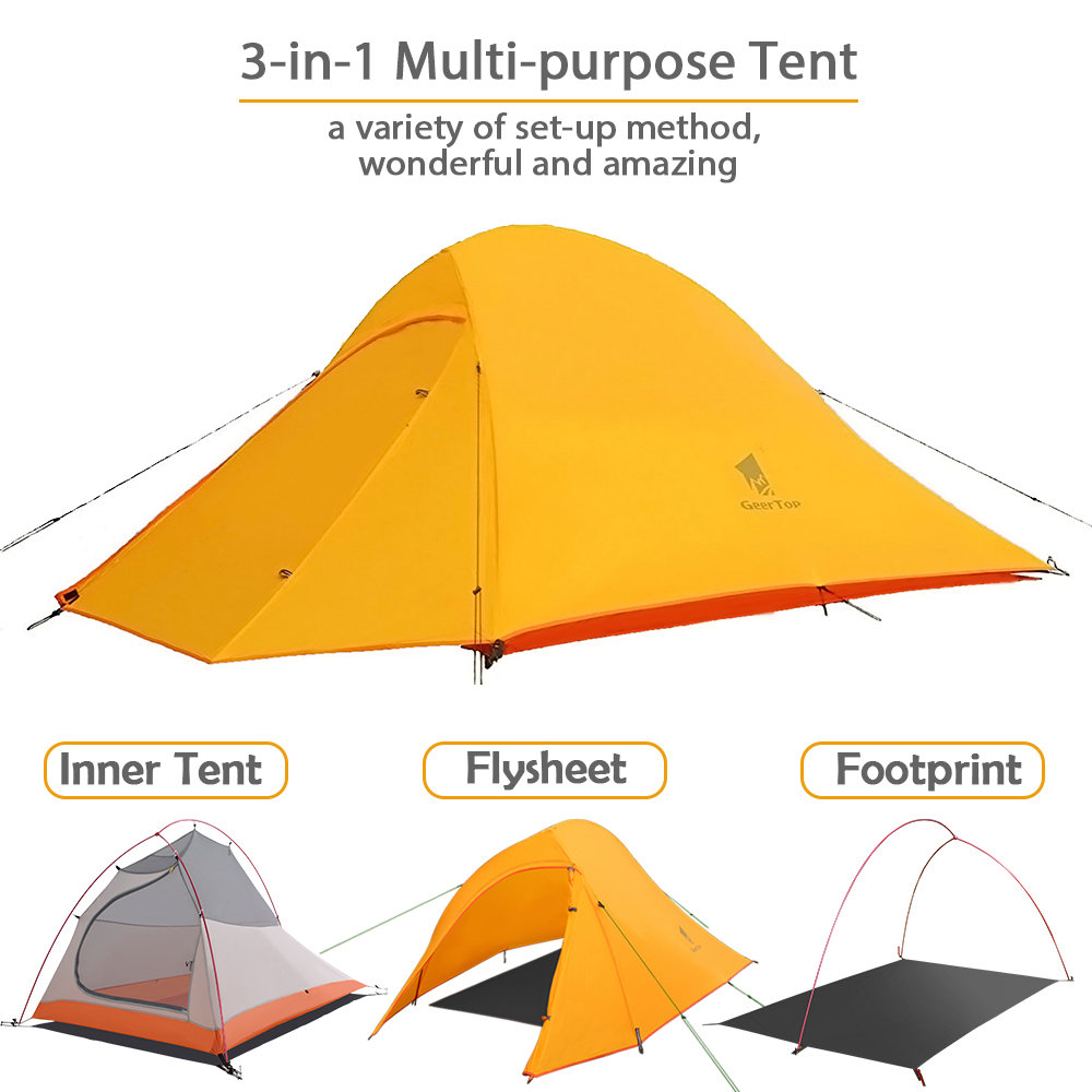 premium selection 86ee5 52a17 GeerTop Libra 2 Person 3-4 Season 20D Lightweight Waterproof Backpacking  Tent