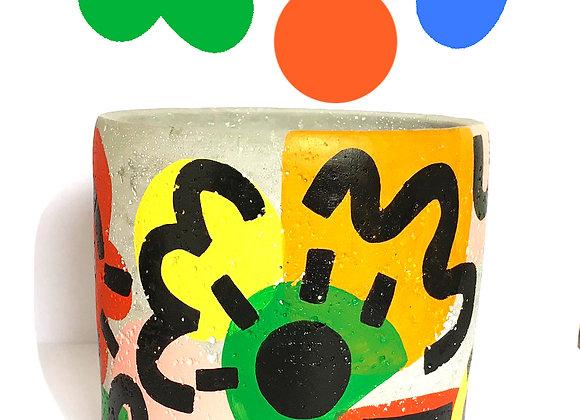 'Flora' Hand painted Cement pot