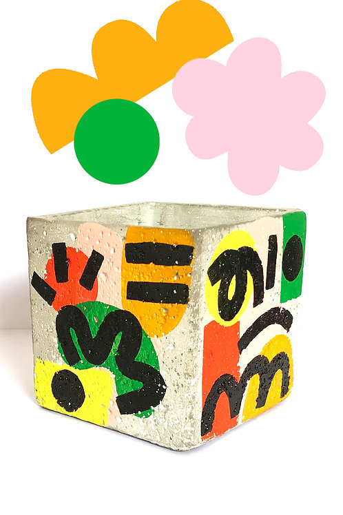 'Grow' hand painted square cement pot