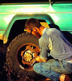 Dave fixing the many busted wheels