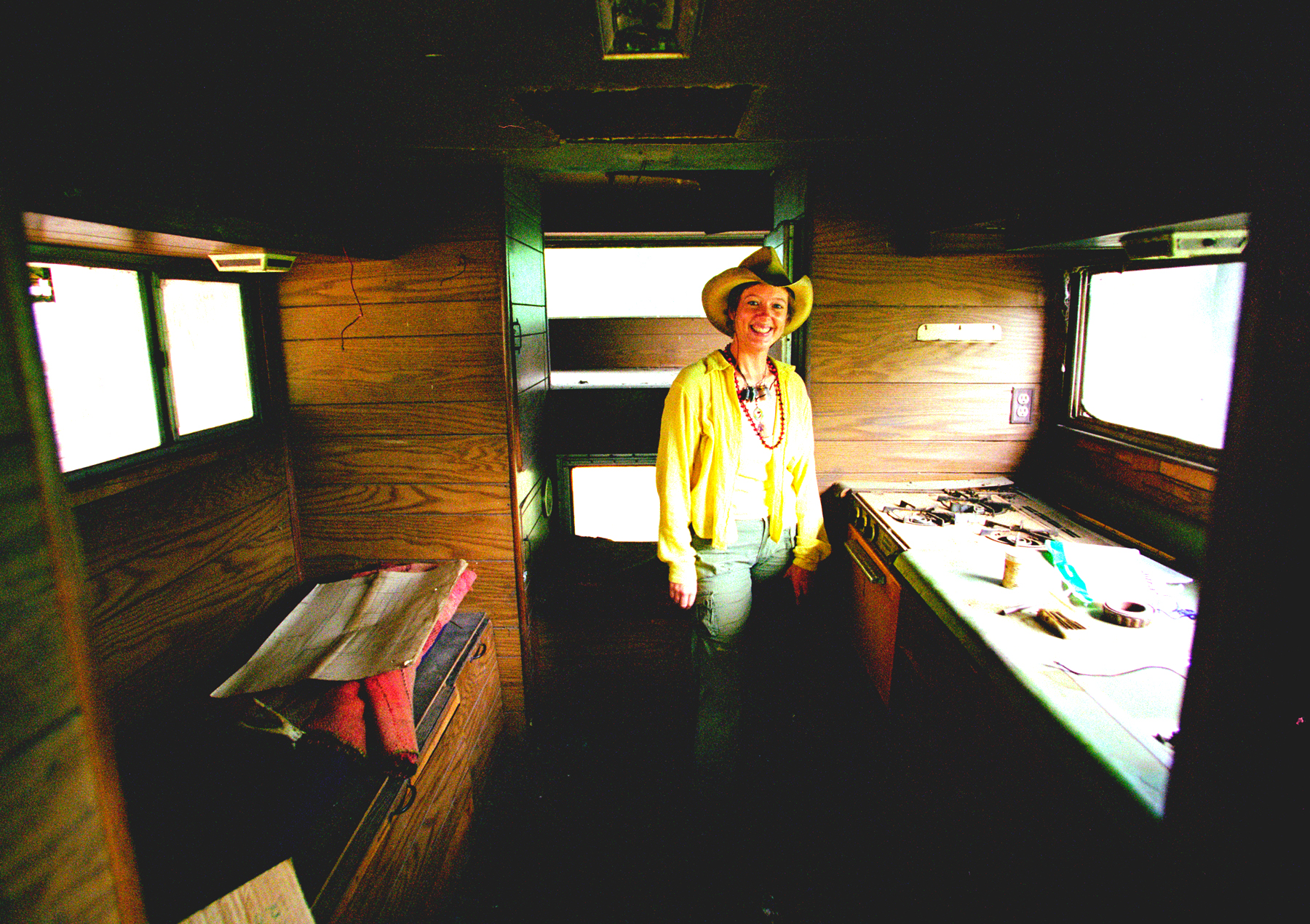 Inside old camper