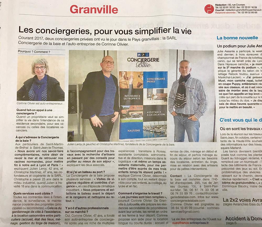 La Conciergerie de la Baie à l'honneur dans le Ouest France du 9 novembre ! © Ouest France