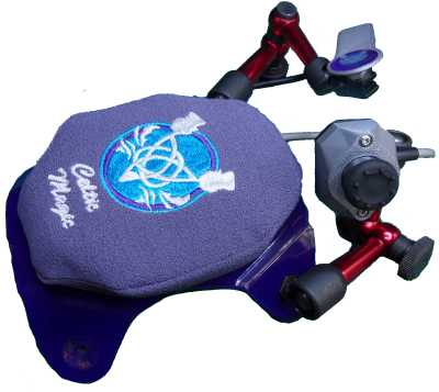 Custom support example.   Lightweight switch and joystick both mounted from hand support base.  Parts CM/SW1+J1+HS2