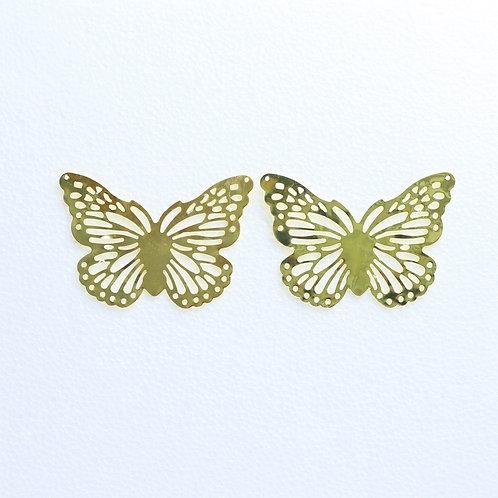 6763 - Aplique Metal Dourado 8,5x3,5 cm C/2 UN