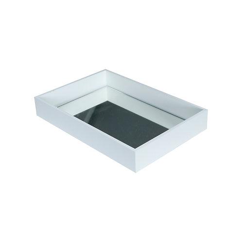 Bandeja MDF Branco c/ espelho 20x30x4 cm.