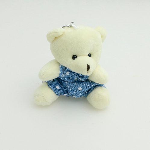 3371 - Urso de Macacão 9cm Chaveiro