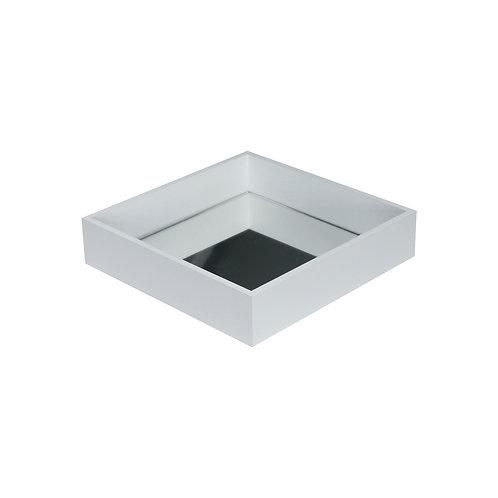 Bandeja MDF Branco c/ espelho 20x20x4 cm.