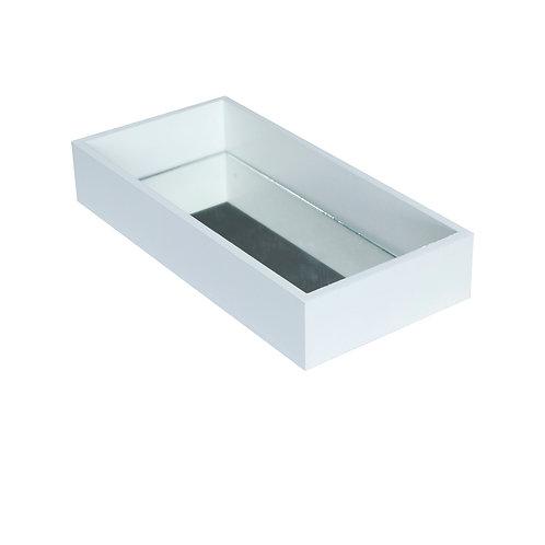 Bandeja MDF Branco c/ espelho 12x25x4 cm.