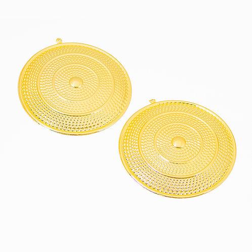 6773 Pingentes Redondos Dourados em Metal 9 cm - 2 unidades