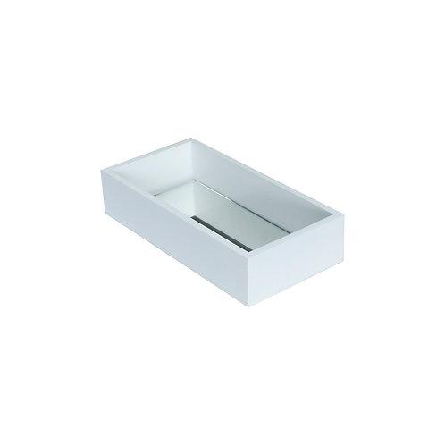 Bandeja MDF Branco c/ espelho 10x20x4 cm.