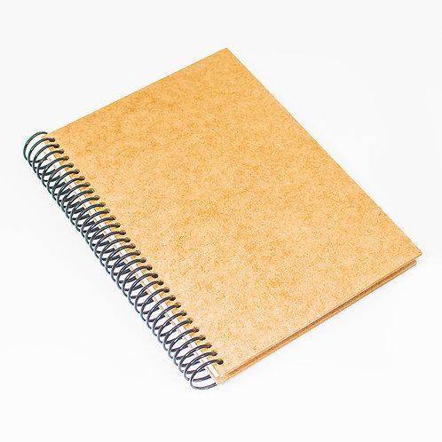 Caderno com capa de MDF e espiral