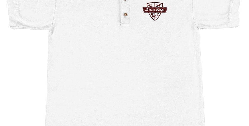 Brown Ledge Crest Embroidered Unisex Polo Shirt