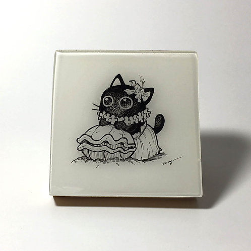 "Black Kitty - ""Hawaiian Kitty - with a shell"" Original Wood Panel art"