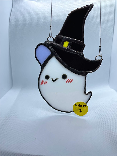 Stained Glass Suncatcher - Ghost Witch 7 (w/ Black Hat)