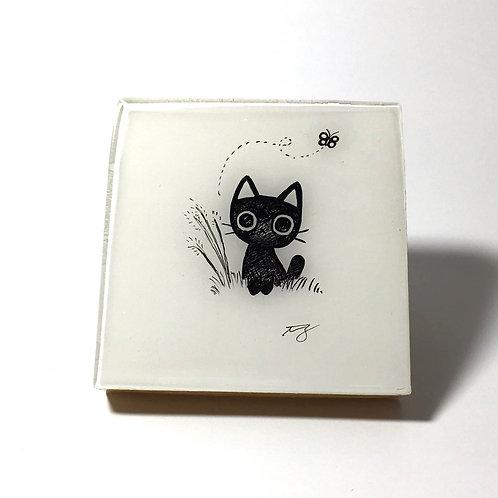 "Black Kitty - ""Butterfly""Original Wood Panel art"