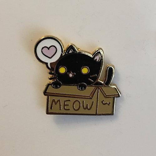 Box Cat Pin - Black Cat - Shadow