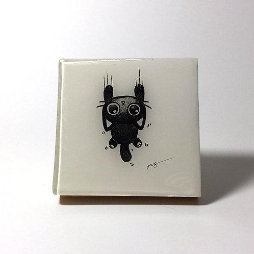 "Black Kitty - ""Halp Meee!"" Original Wood Panel art"