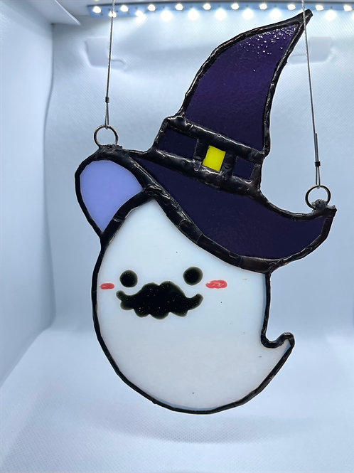 Stained Glass Suncatcher - Ghost Witch 2 (w/Purple Hat)