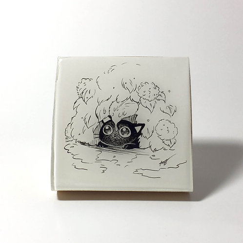 "Black Kitty - ""Rain, Rain, Go Away"" Original Wood Panel art"