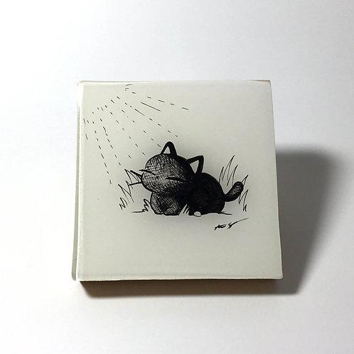 "Black Kitty - ""Sun Bathing"" Original Wood Panel art"