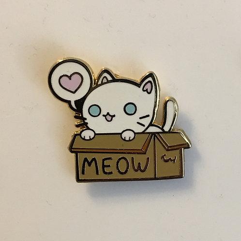 Box Cat Pin - White Cat - Snow