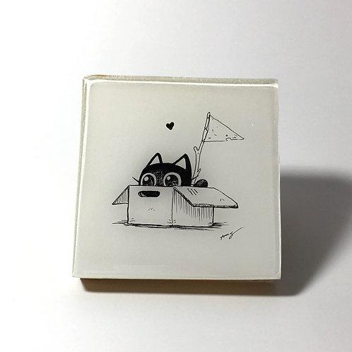 "Black Kitty - ""OMG! A box!""Original Wood Panel art"