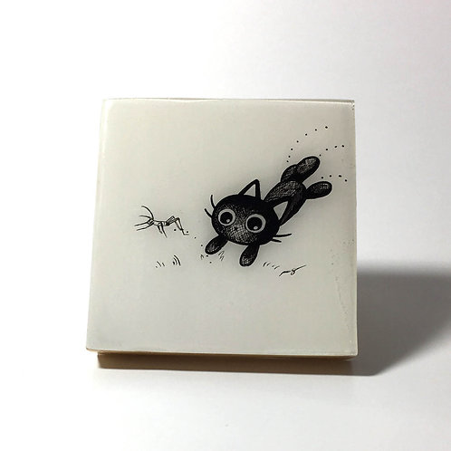 "Black Kitty - ""Toy!"" Original Wood Panel art"
