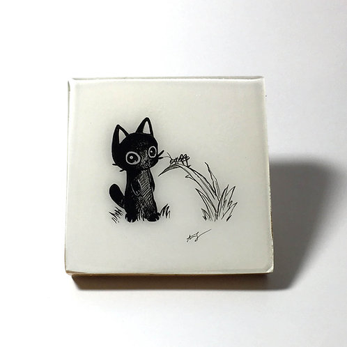"Black Kitty - ""Hello Grasshopper"" Original Wood Panel art"