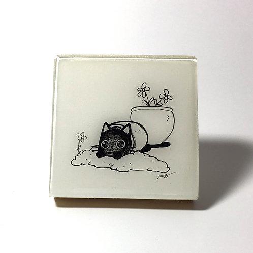 "Black Kitty - ""Pot"" Original Wood Panel art"