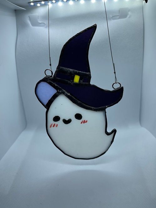 Stained Glass Suncatcher - Ghost Witch 9 (w/ Purple Hat)