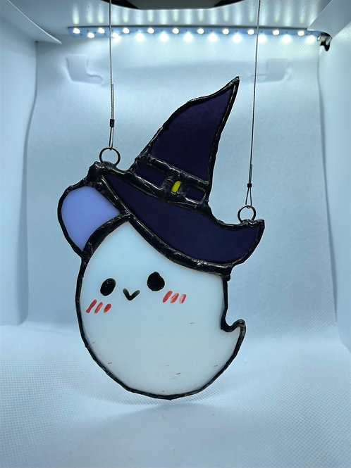 Stained Glass Suncatcher - Ghost Witch 12 (w/ Purple Hat)