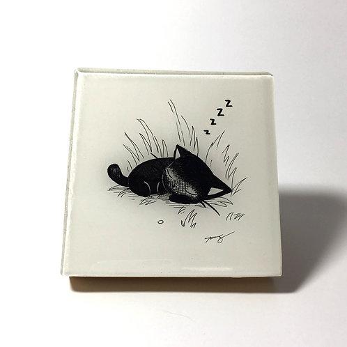 "Black Kitty - ""Nap Time"" Original Wood Panel art"