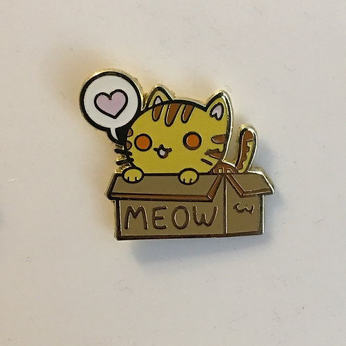 Box Cat Pin - Orange Tabby Cat - Tora