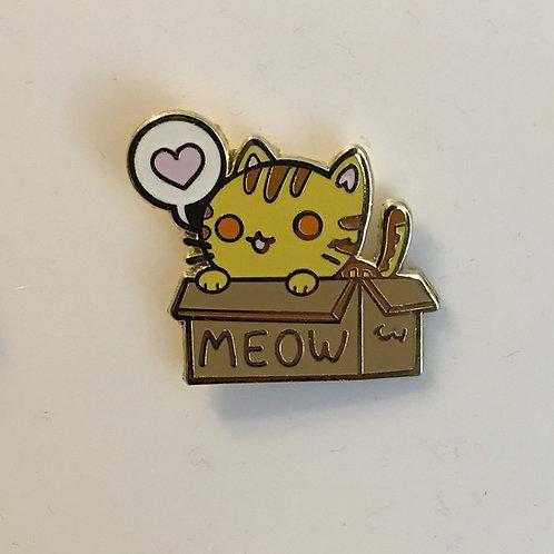 Box Cat Pin - Orange Tabby Cat - Tora