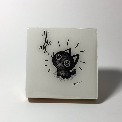 "Black Kitty- ""String!"" Original Wood Panel art"